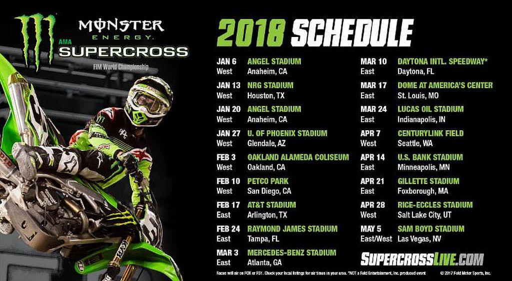 Calendario Mondiale Motocross.Monster Energy Supercross Calendario 2018 Motocross It