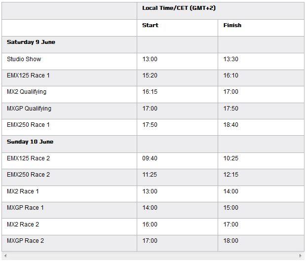 MXGP of France TV schedule & Race Links orario 2018