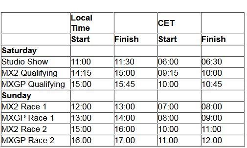 MXGP of Asia TV schedule & Race Links orario 2018