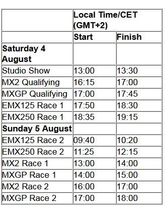 MXGP of Belgium TV schedule & Race Links orario 2018