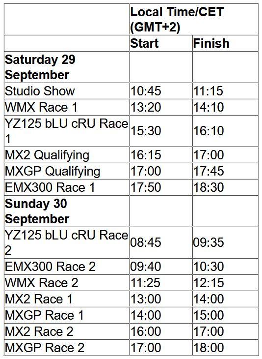 MXGP of Italia TV schedule & Race Links orario 2018