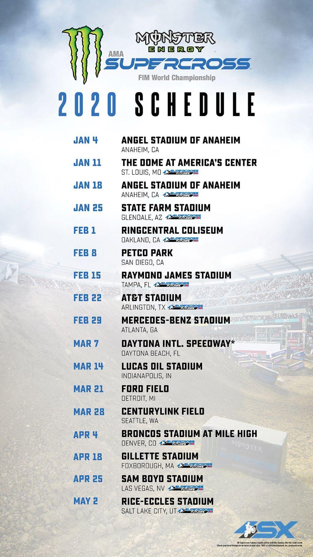 AMA Supercross 2020 Calendario ufficiale A