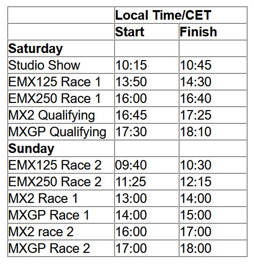 MXGP of BelgiumTV schedule & Race Links orari 2019
