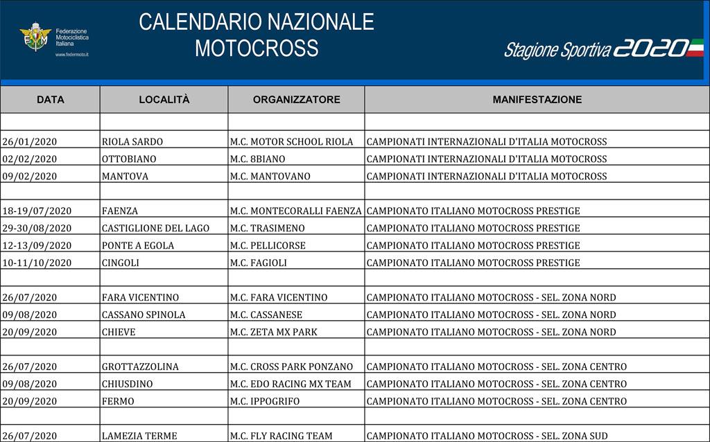 Calendario Nazionale Motocross 2020 aggiornato   Motocross.it