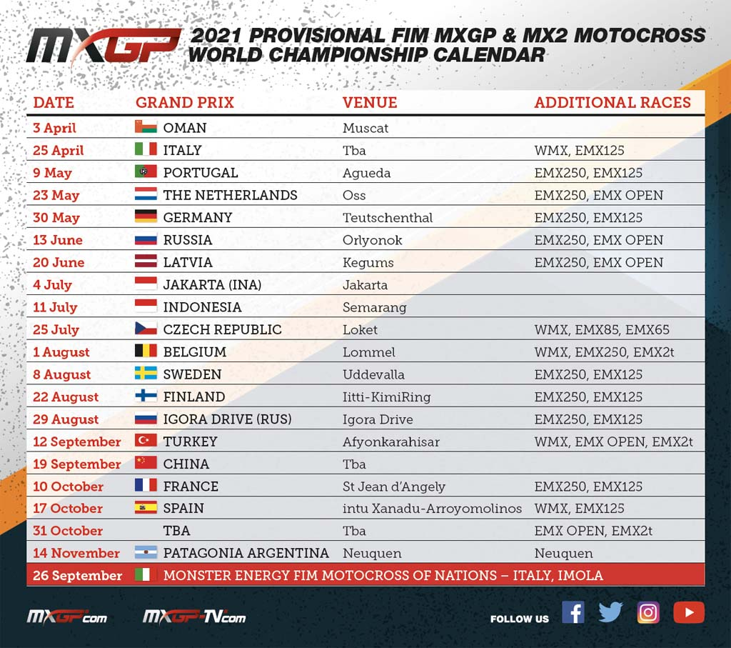 MONDIALE MXGP 2021. CALENDARIO PROVVISORIO   Motocross.it