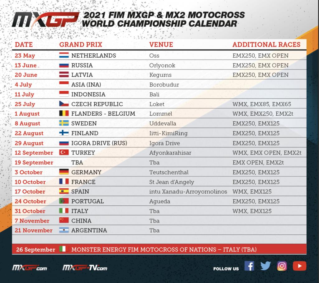 2021 Calendar Update MXGP World Championship